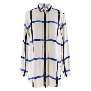 Celine Ivory & Blue Checked Silk Shirt
