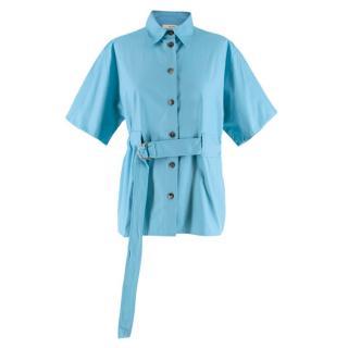Celine Blue Short Sleeve Belted Shirt
