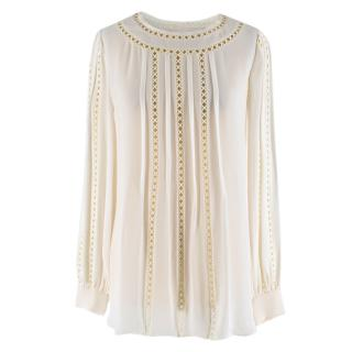 Oscar De La Renta White Cut-Out Embroidered Silk Blouse