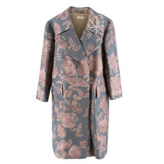 Dries Van Noten Silk Blend Floral Coat with Dragonfly Brooch
