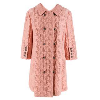 Dolce & Gabbana Pink Floral Jacquard Wool Blend Coat