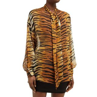 Alexandre Vauthier Tiger Print Chiffon Pussy Bow Blouse