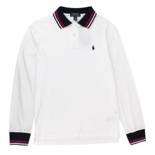 Polo Ralph Lauren Long Sleeve Polo with Black Red Blue Trim