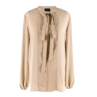 Lanvin Gold Textured Pussy Bow Blouse