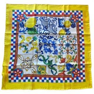 Dolce & Gabbana Yellow Sicily Majolica silk scarf
