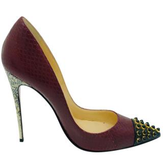 Christian Louboutin maroon python and snakeskin pumps