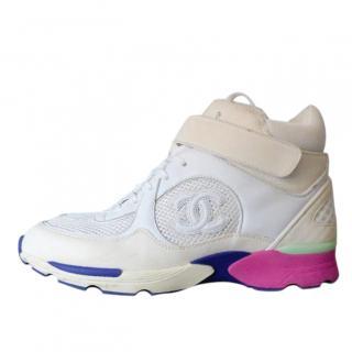 Chanel white/multi calfskin hightop trainers
