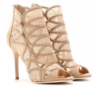 Jimmy Choo Fauna Suede Peeptoe Ankle Boots with Lace