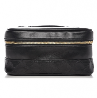 Chanel Black Lambskin Vintage Vanity Case