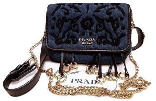 Prada Denim Embroidered Leather Trimmed Belt Bag