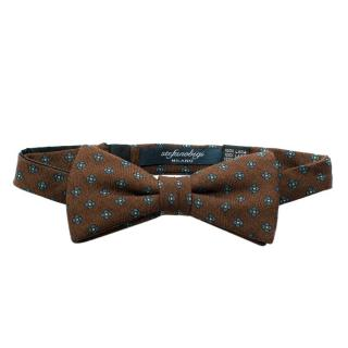 Stefano Bigi Brown Floral Wool Bow Tie