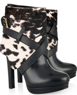 Alexander McQueen Animal-print calf hair & leather ankle boots