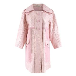 Nina Ricci Light Pink Organza-coated lame coat