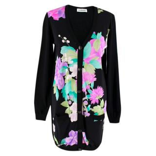 Leonard Paris Black Cardigan with Floral Silk Front