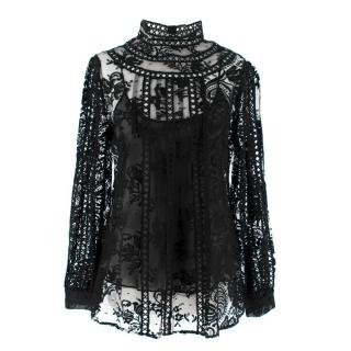 Oscar de la Renta Black Lace Long Sleeve High Neck Blouse