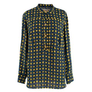 Marni Blue and Yellow Art Deco Printed Blouse