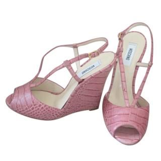 Moschino Pink Crocodile Print Wedge Sandals