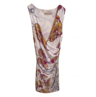 Emilio Pucci White Butterfly Print Sleeveless Wrap Style Dress
