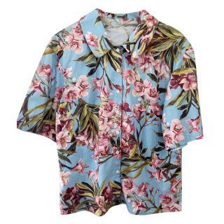 Dolce & Gabbana Blue & Pink Floral Print Short Sleeve Shirt