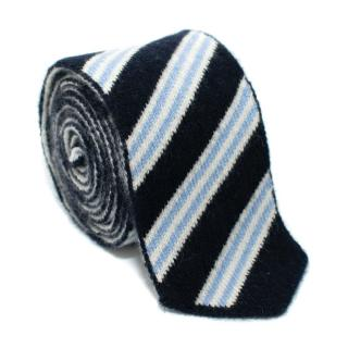 Eddy Monetti Blue Striped Cashmere Tie