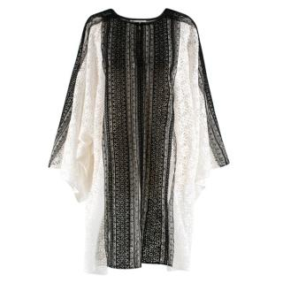 Oscar de la Renta White & Black Lace Oversize Dress