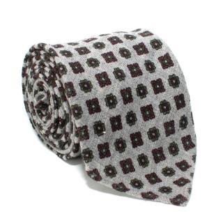 Drake's Grey Floral Wool Tie