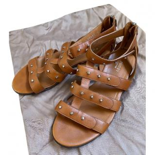 Gucci Tan Strappy Studded Sandals