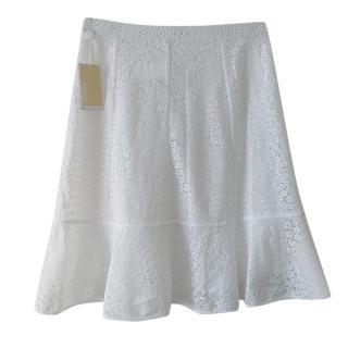 Michael Michael Kors White Floral Lace Skirt