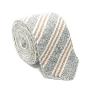 Eddy Monetti Grey Striped Cashmere Tie