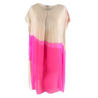 Bottega Veneta Pink Layered silk-chiffon draped dress