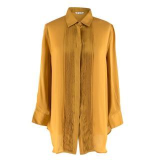 Loro Piana Gold Silk Pleated detail Shirt