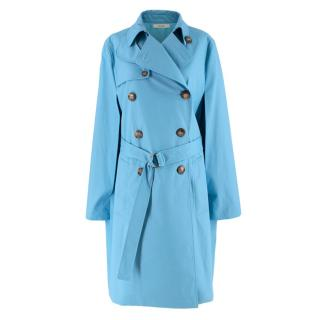 Celine Sky Blue Double Breasted Trench Coat