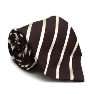 Boggi Milano Burgundy Striped Silk Tie