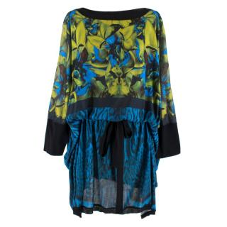 Roberto Cavalli Blue Animal Abstract Floral Print Dress/Cover-Up