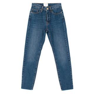 Sezane Denim Blue Raw Hem Jeans