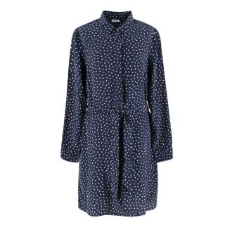 PAROSH Navy polka dot shirt dress