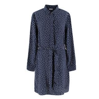 PAROSH Navy polka dot shirt dress