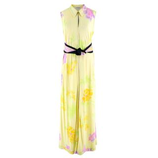 Leonard Yellow Printed Sleeveless Maxi Dress with Black Sash