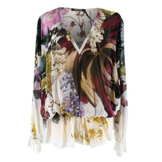 Roberto Cavalli Cream Floral and Lace Blouse