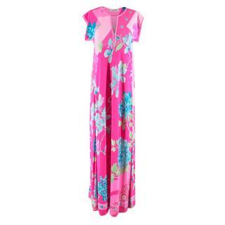 Leonard Paris Bright Pink Printed Maxi Dress