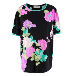 Leonard Paris Black Silk Floral Top