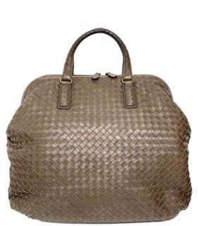 Bottega Veneta Brown Large Intrecciato Top Handle Bag