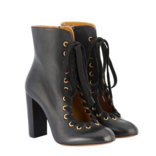 Chloe Black Leather Nile Ankle Boots