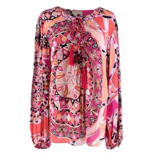 Emilio Pucci Pink and Orange Patterned Long Sleeve Blouse