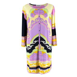 Leonard Purple Pink and Black Patterned Shirt Dress