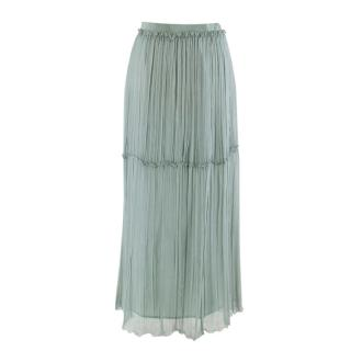 Philosophy Di Alberta Ferretti Teal Silk Long Skirt