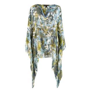 Loro Piana Blue & Green Watercolour Floral Print Blouse