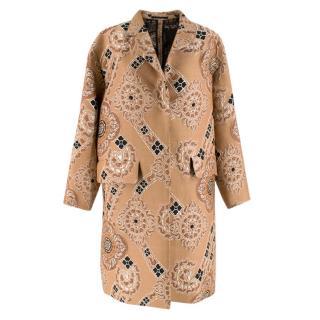 Dries Van Noten Nude Jacquard Embroidered Coat