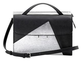 Fendi Demi Jour Colorblock Black Silver Leather Satchel