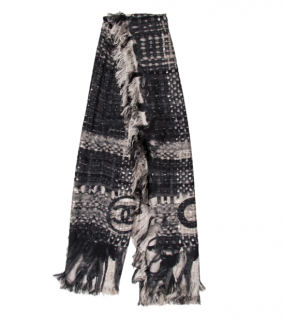 Chanel Monochrome Tweed Print Silk Shawl